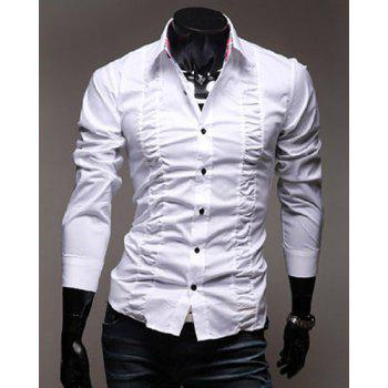 Stylish Shirt Collar Solid Color Pleated Design Slimming Long Sleeve Polyester Casual Shirt For Men