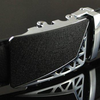 Stylish Hollow Out Triangle Shape Embellished Alloy Buckle Men's Belt - BLACK