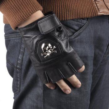 One Piece Stylish PU Leather Skull Embellished Right Hand Glove For Men