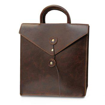 Retro Solid Color and PU Leather Design Backpack For Men