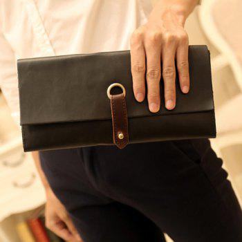 Fashionable Color Block and PU Leather Design Clutches For Men - BLACK BLACK