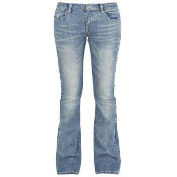 Simple Mid-Waisted Pocket Design Zipper Fly Women's Jeans - BLUE 32
