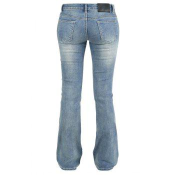 Simple Mid-Waisted Pocket Design Zipper Fly Women's Jeans - 32 32