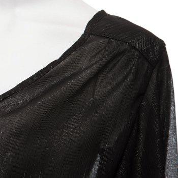 Sexy Pluning Neck Flare Sleeve Chiffon Pure Color Women's Blouse - BLACK BLACK