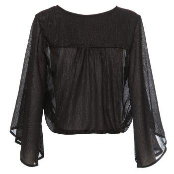 Sexy Pluning Neck Flare Sleeve Chiffon Pure Color Women's Blouse - BLACK XL