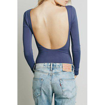 Solid Low Back T-Shirt - LIGHT BLUE L