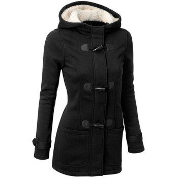 Casual Hooded Solid Color Double-Pocket Flocking Long Sleeve Women's Coat - BLACK L