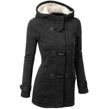 Casual Hooded Solid Color Double-Pocket Flocking Long Sleeve Women's Coat - DEEP GRAY L