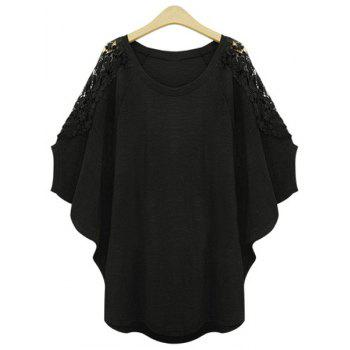 Stylish Scoop Neck Lace Splicing Plus Size Batwing Sleeve Women's T-Shirt
