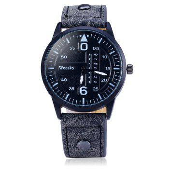 Weesky 1203G Quartz Watch with Decorative Day Leather Band for Men -  BLACK