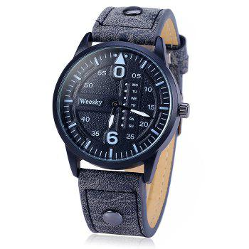 Weesky 1203G Quartz Watch with Decorative Day Leather Band for Men - BLACK BLACK