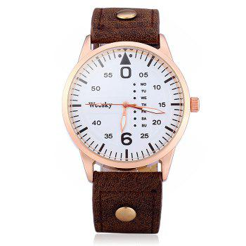 Weesky 1203G Quartz Watch with Decorative Day Leather Band for Men -  BROWN