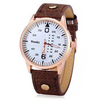 Weesky 1203G Quartz Watch with Decorative Day Leather Band for Men - BROWN BROWN