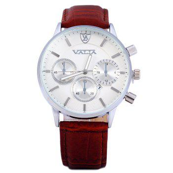 Valia 8281-2 Men Quartz Watch with Date Display Leather Strap Decorative Sub-dials -  BROWN