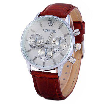 Valia 8281-2 Men Quartz Watch with Date Display Leather Strap Decorative Sub-dials - BROWN BROWN