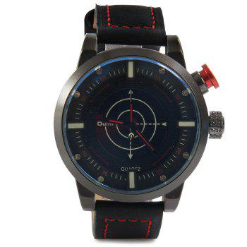 Oulm 3558 LED Scanning Leather Band Men Double Movt Watch -  BLUE