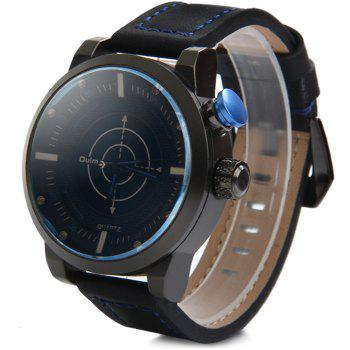 Oulm 3558 LED Scanning Leather Band Men Double Movt Watch - BLUE BLUE