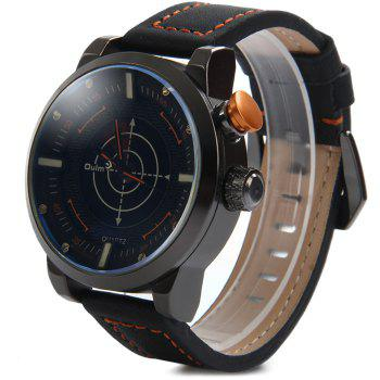 Oulm 3558 LED Scanning Leather Band Men Double Movt Watch - GOLDEN GOLDEN