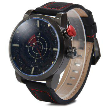 Oulm 3558 LED Scanning Leather Band Men Double Movt Watch - RED RED