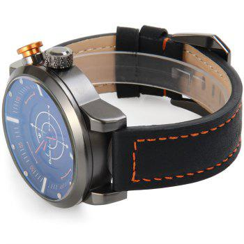 Oulm 3558 LED Scanning Leather Band Men Double Movt Watch -  BLACK
