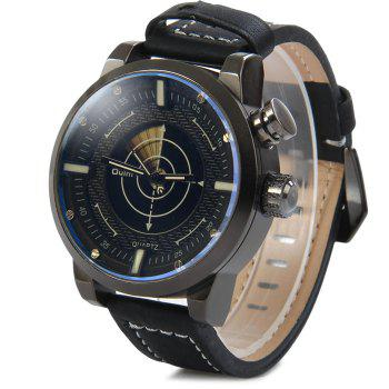 Oulm 3558 LED Scanning Leather Band Men Double Movt Watch - BLACK BLACK