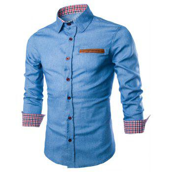 Slimming Shirt Collar Trendy Color Block PU Leather Pocket Hemming Long Sleeve Men's Denim Shirt