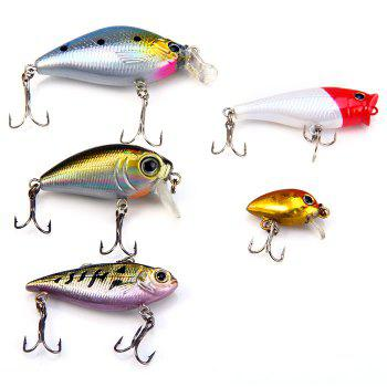 Yoshikawa Lifelike Hard Fishing Lure Set with Hooks for Fishing Lovers 5pcs - AS THE PICTURE AS THE PICTURE