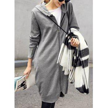 Fashionable Women's Solid Color Long Sleeve Loose-Fitting Hoodie - LIGHT GRAY 3XL
