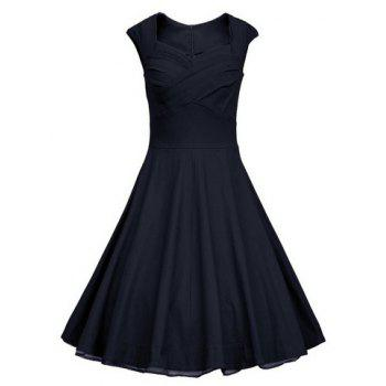 Vintage Pure Color Sweetheart Neck Sleeveless Dress For Women - PURPLISH BLUE 2XL