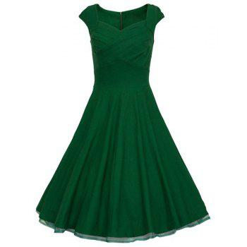 Vintage Pure Color Sweetheart Neck Sleeveless Dress For Women - GREEN M