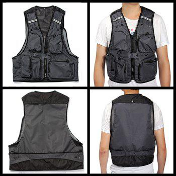 Men Mesh Photographic Fishing Hiking Camping Waistcoat Multi-pockets Vest Jacket - GRAY L