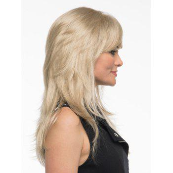 Charming Side Bang Vogue Human Hair Long Straight Handsome Women's Capless Wig -  BROWN BLACK MIXED /