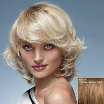 Sexy Charming Dark Root Side Bang Tilt Fluffy Short Wavy Capless Women's Natural Human Hair Wig - BROWN WITH BLONDE BROWN/BLONDE