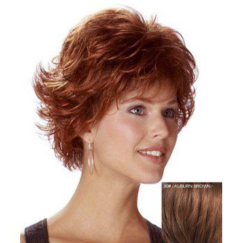 Trendy Human Hair Elegant Side Bang Fluffy Short Wavy Capless Wig For Women