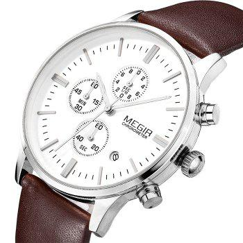 MEGIR 2011 Male Japan Quartz Watch Date Display Genuine Leather Band 30M Water Resistance - BROWN SILVER WHITE