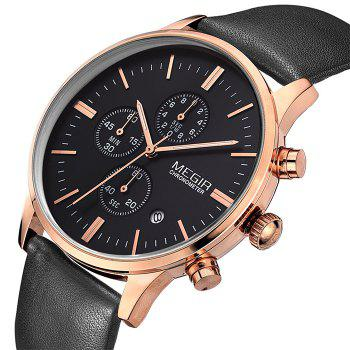 MEGIR 2011 Male Japan Quartz Watch Date Display Genuine Leather Band 30M Water Resistance - BLACK GOLD BLACK