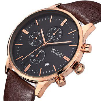 MEGIR 2011 Male Japan Quartz Watch Date Display Genuine Leather Band 30M Water Resistance -  BROWN GOLD BLACK