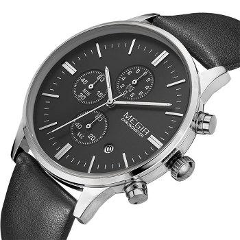 MEGIR 2011 Male Japan Quartz Watch Date Display Genuine Leather Band 30M Water Resistance -  BLACK SILVER BLACK