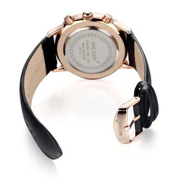 MEGIR 2011 Male Japan Quartz Watch Date Display Genuine Leather Band 30M Water Resistance -  BLACK GOLD WHITE