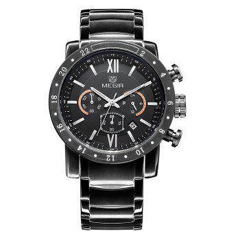 MEGIR 3008 Water Resistance Male Japan Quartz Watch with Date Display - BLACK BLACK