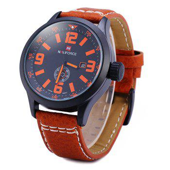 Naviforce 9057 Water Resistance Japan Quartz Watch Date Day Function Leather Band for Men -  BLACK