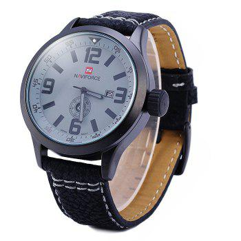Naviforce 9057 Water Resistance Japan Quartz Watch Date Day Function Leather Band for Men - BLACK BLACK
