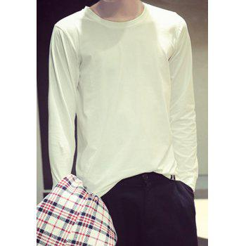Fitted Round Neck Stylish Solid Color Zipper Design Long Sleeve Polyester Men's T-Shirt - WHITE WHITE