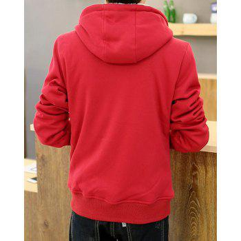 Slimming Hooded Stylish Letter Embroidered Velour Lined Long Sleeve Cotton Blend Men's Hoodie - RED 2XL