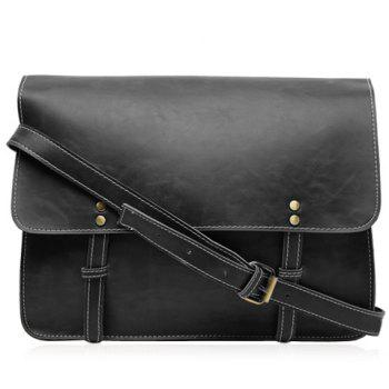 Retro Style Stitching and Solid Color Design Messenger Bag For Men