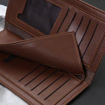 Stylish PU Leather and Letter Print Design Wallet For Men - COFFEE