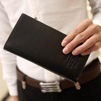 Stylish PU Leather and Letter Print Design Wallet For Men - BLACK