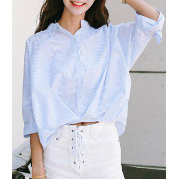 Sweet Stand-Up Collar 3/4 Sleeve Striped Loose-Fitting Women's Blouse