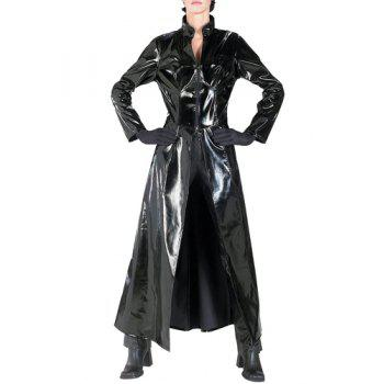Sexy Faux Leather Stand-Up Collar High Slit Black Coat For Women