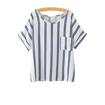 Stylish Scoop Neck Short Sleeve Striped Women's T-Shirt
